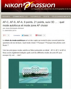 AF-C, AF-S, AF-A, 9 points, 21 points, suivi 3D